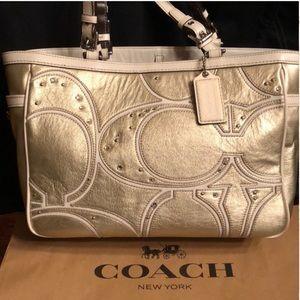 Coach Gallery Gold Studded Rhinestones Bag
